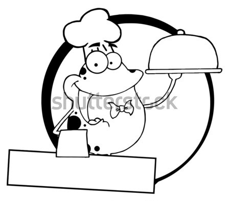 Black And White Chef Male Caveman Cartoon Mascot Character Holding Up A Platter With Big Grilled Ste Stock photo © hittoon