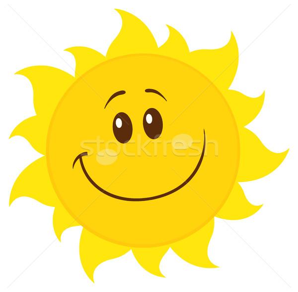 Gülen sarı basit güneş karikatür maskot karakter Stok fotoğraf © hittoon