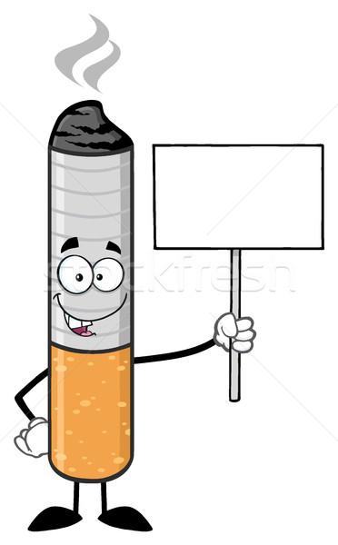 Cigaretta rajzfilm kabala karakter tart üres tábla illusztráció Stock fotó © hittoon