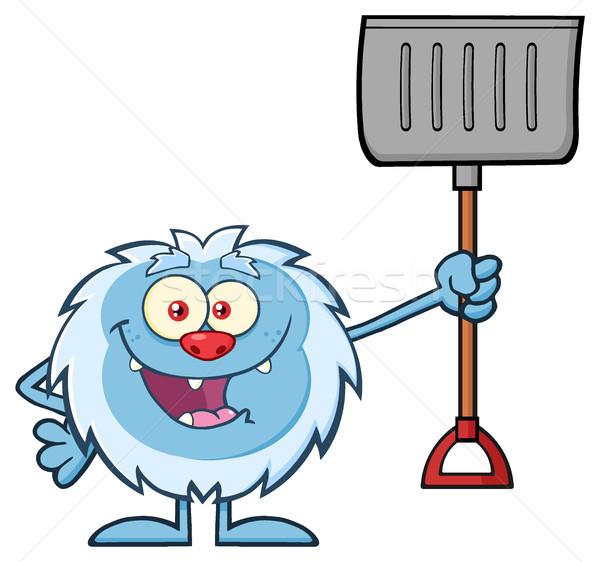 Happy Little Yeti Cartoon Mascot Character Holding Up A Winter Shovel Stock photo © hittoon