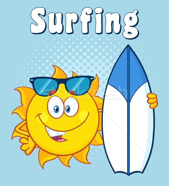 Mutlu güneş karikatür maskot karakter güneş gözlüğü Stok fotoğraf © hittoon
