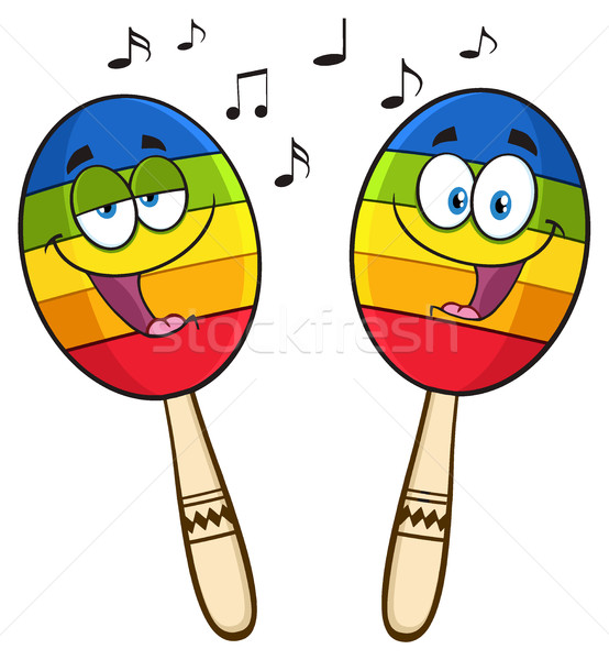 Two Colorful Mexican Maracas Cartoon Mascot Characters Singing Stock photo © hittoon