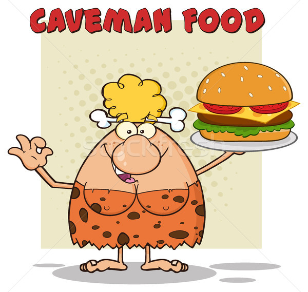 Cave Blonde Woman Cartoon Mascot Character Holding A Big Burger And Gesturing Ok Stock photo © hittoon
