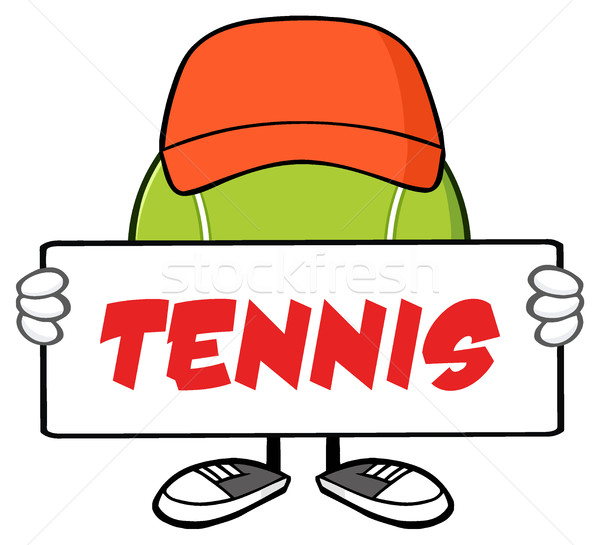 Tennis Ball Faceless Cartoon Mascot Character With Hat Holding A Blank Sign Stock photo © hittoon