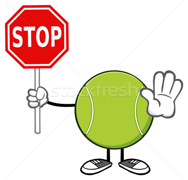 Tennis Ball Faceless Cartoon Mascot Character Gesturing And Holding A Stop Sign Stock photo © hittoon