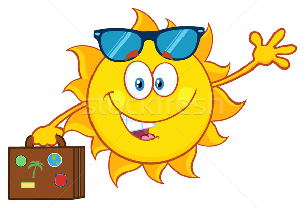 Cute Summer Sun Cartoon Mascot Character With Sunglasses Carrying Suitcase And Waving Stock photo © hittoon