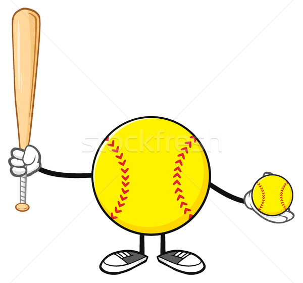 Softball Faceless Player Cartoon Mascot Character Holding A Bat And Ball Stock photo © hittoon