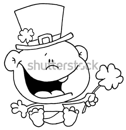 Black And White Smiling Cave Woman Cartoon Mascot Character With Good Idea Stock photo © hittoon