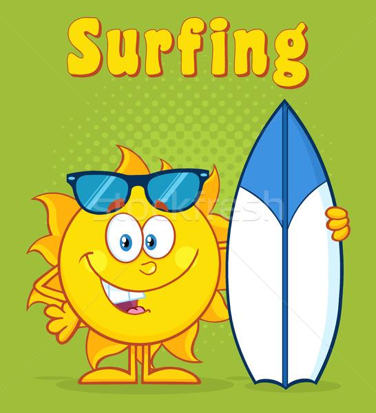 Boldog nap rajzfilm kabala karakter tart szörf Stock fotó © hittoon