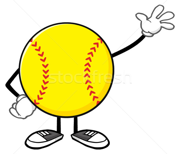 Softball mascotte dessinée personnage accueil illustration Photo stock © hittoon