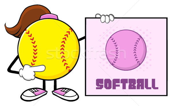 Softball Girl Faceless Cartoon Mascot Character Pointing To A Sign With Text Softball Stock photo © hittoon