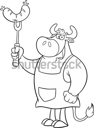 Black And White Caveman Cartoon Character Holding Up A Torch Stock photo © hittoon