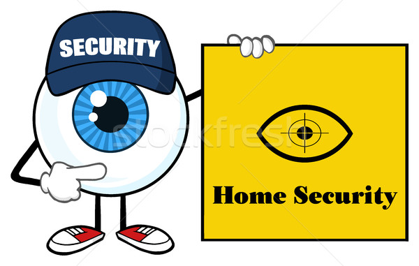 Blue Eyeball Cartoon Mascot Character Security Guard Pointing A Home Security Sign Banner Stock photo © hittoon