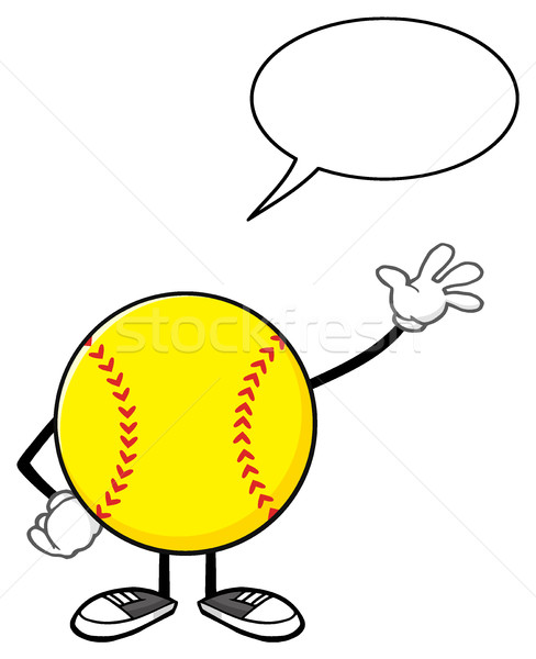 Softball Faceless Cartoon Mascot Character Waving For Greeting With Speech Bubble Stock photo © hittoon