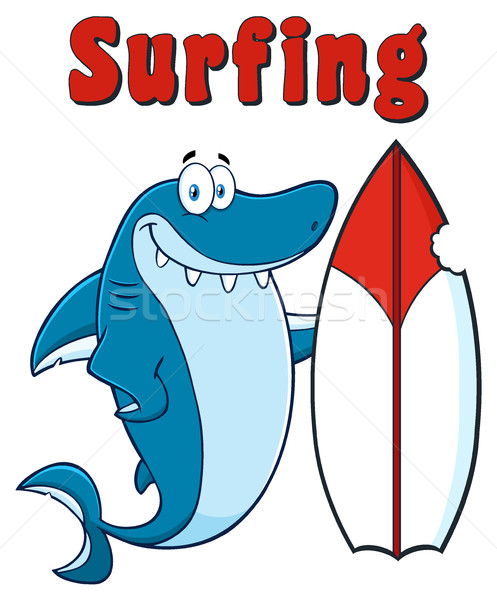 Happy Blue Shark Cartoon Mascot Character With Surfboard And Text Surfing Stock photo © hittoon