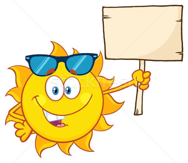 Stockfoto: Zomer · zon · cartoon · mascotte · karakter · zonnebril