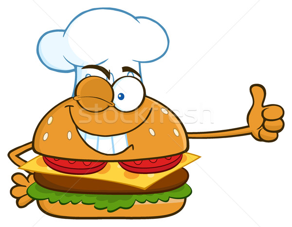 Winking Chef Burger Cartoon Mascot Character Showing Thumbs Up Stock photo © hittoon
