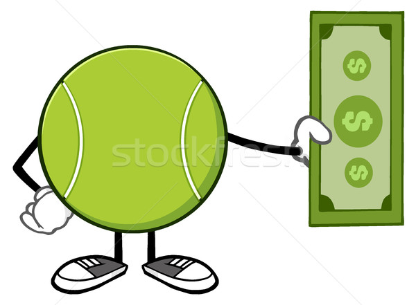 Tennisbal cartoon mascotte karakter dollar Bill Stockfoto © hittoon