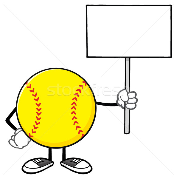 Stock photo: Softball Faceless Cartoon Mascot Character Holding A Blank Sign