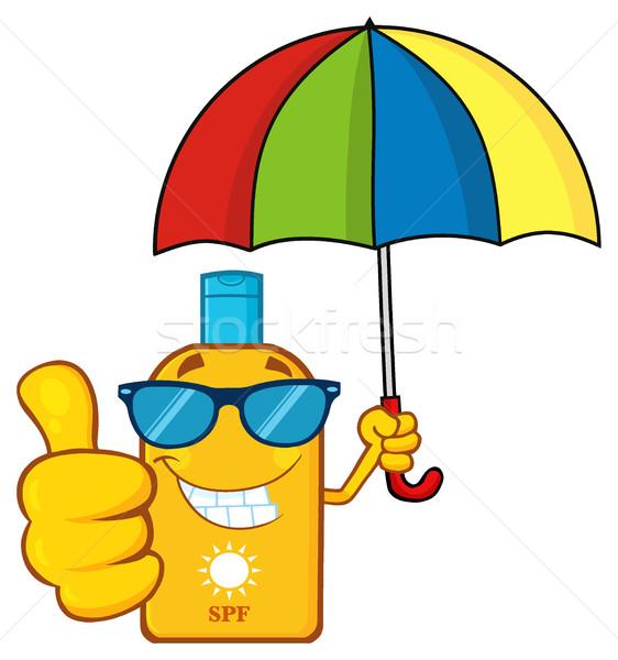 Sorridere bottiglia protezione solare mascotte carattere occhiali da sole Foto d'archivio © hittoon