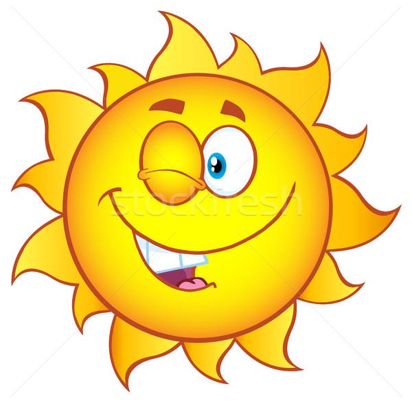 Güneş karikatür maskot karakter eğim örnek Stok fotoğraf © hittoon
