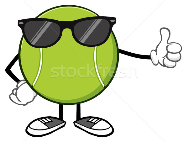Tennis Ball Faceless Cartoon Mascot Character With Sunglasses Giving A Thumb Up Stock photo © hittoon