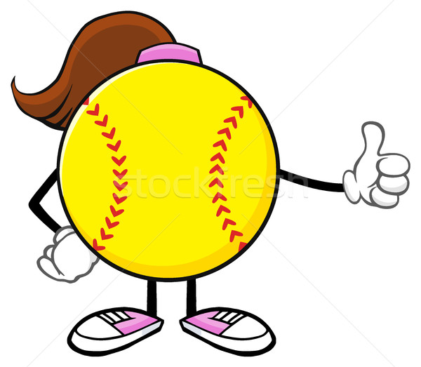 Softball Girl Faceless Cartoon Mascot Character Giving A Thumb Up Stock photo © hittoon