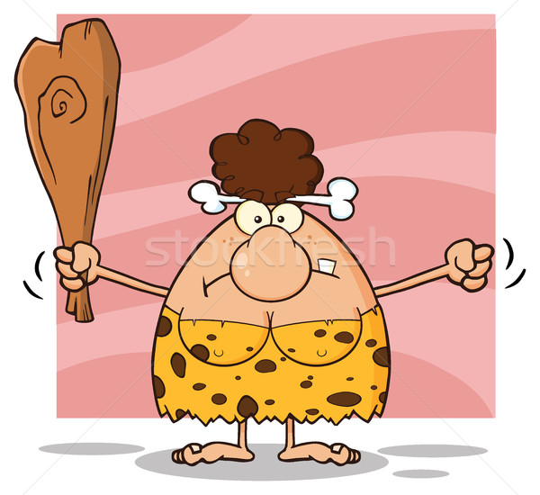 Grumpy Brunette Cave Woman Cartoon Mascot Character Holding Up A Fist And A Club Stock photo © hittoon
