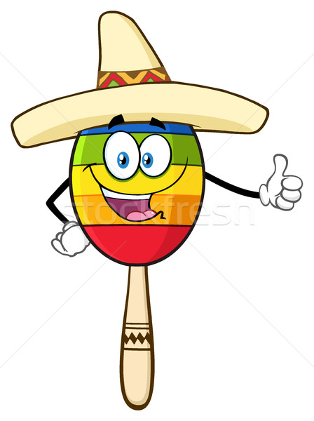 Happy Colorful Mexican Maracas Cartoon Mascot Character With Sombrero Hat Giving A Thumbs Up Stock photo © hittoon