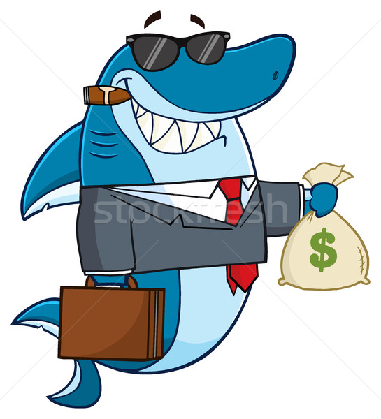 笑みを浮かべて ビジネス サメ 漫画のマスコット 文字 スーツ ストックフォト © hittoon