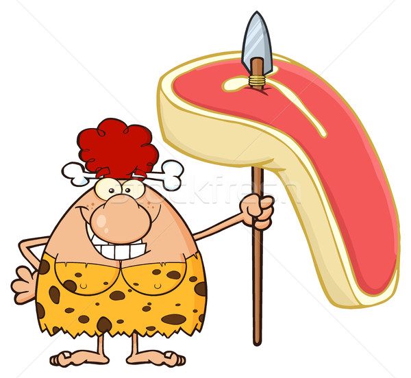 Stock photo: Smiling Red Hair Cave Woman Cartoon Mascot Character Holding A Spear With Big Raw Steak