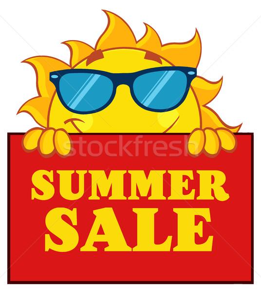 Derűs nap rajzfilm kabala karakter napszemüveg felirat Stock fotó © hittoon