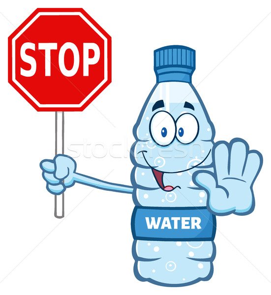 Cartoon water plastic fles mascotte karakter Stockfoto © hittoon