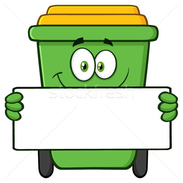 Smiling Green Recycle Bin Cartoon Mascot Character Holding A Blank Sign Stock photo © hittoon