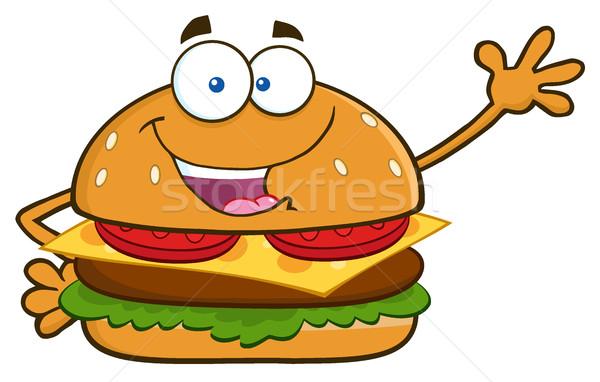 Happy Burger Cartoon Mascot Character Waving For Greeting Stock photo © hittoon