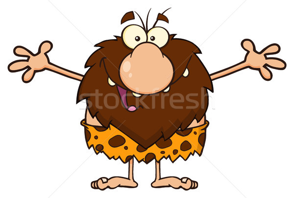 Smiling Male Caveman Cartoon Mascot Character With Open Arms For A Hug Stock photo © hittoon