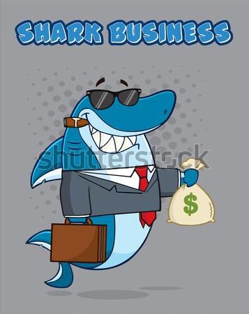 Köpekbalığı gangster karikatür maskot karakter evrak çantası Stok fotoğraf © hittoon