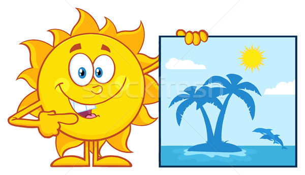 Talking Sun Cartoon Mascot Character Pointing To A Poster Sign With Tropical Island Stock photo © hittoon