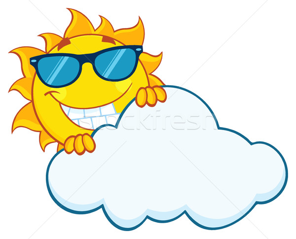 Smiling Summer Sun Mascot Cartoon Character With Sunglasses Hiding Behind Cloud Stock photo © hittoon
