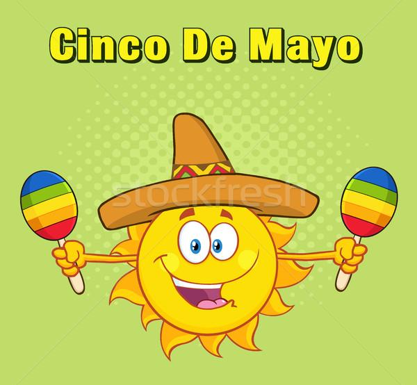 Happy Colorful Sun Cartoon Mascot Character With Sombrero Hat Playing Maracas Stock photo © hittoon