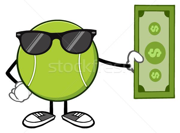 Bola de tênis mascote óculos de sol dólar Foto stock © hittoon