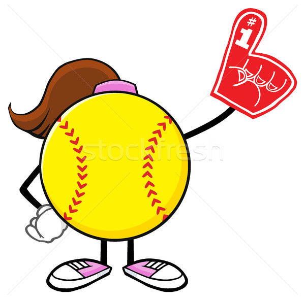 Softball Girl Faceless Cartoon Mascot Character Wearing A Foam Finger Stock photo © hittoon