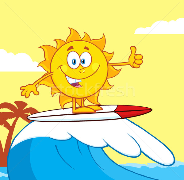 Surfer zon cartoon mascotte karakter paardrijden golf Stockfoto © hittoon