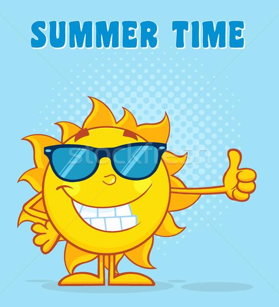 Glimlachend zon cartoon mascotte karakter zonnebril Stockfoto © hittoon