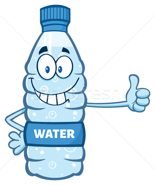 Cartoon Illustation Of A Water Plastic Bottle Mascot Character Giving A Thumb Up Stock photo © hittoon