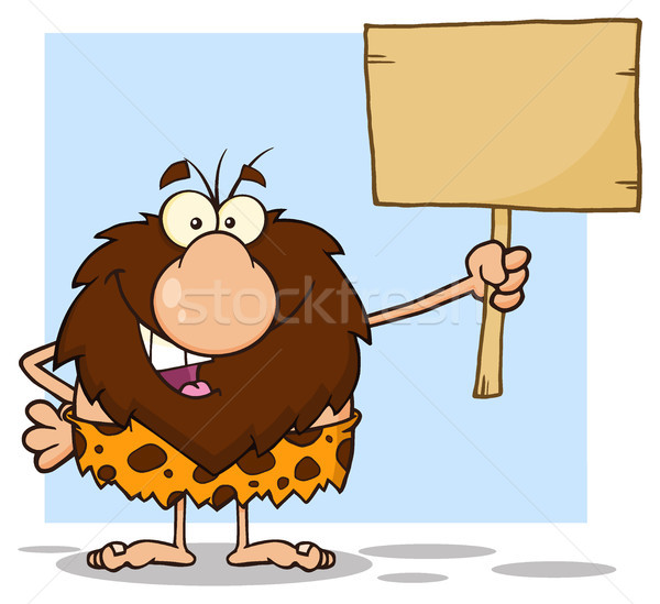 Happy Male Caveman Cartoon Mascot Character Holding A Wooden Board Stock photo © hittoon