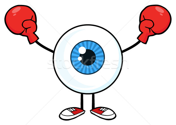 Blue Eyeball Guy Cartoon Mascot Character Wearing Boxing Gloves Stock photo © hittoon