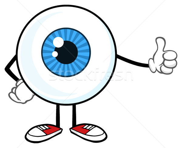 Blue Eyeball Guy Cartoon Mascot Character Giving A Thumb Up Stock photo © hittoon