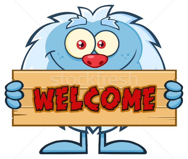 Cute Little Yeti Cartoon Mascot Character Holding Welcome Wooden Sign Stock photo © hittoon