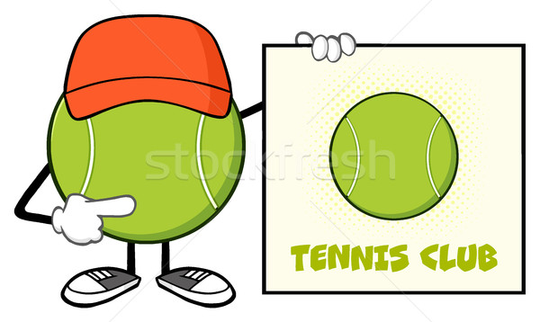 Tennis Ball Faceless Cartoon Mascot Character With Hat Pointing To A Sign Tennis Club Stock photo © hittoon